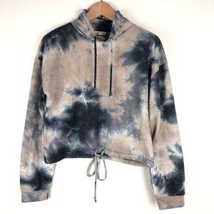 Heart and Hips Tie Dye Mock Neck Crop Sweatshirt